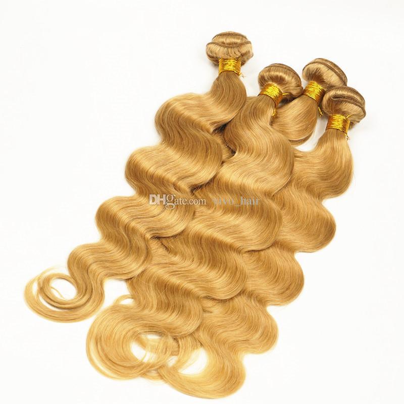 Brazilian Vigin Hair Honey Blonde 4 Bundles Pure #27 Strawberry Blonde Body Wave Human Hair Weaves 400G Dhl Free