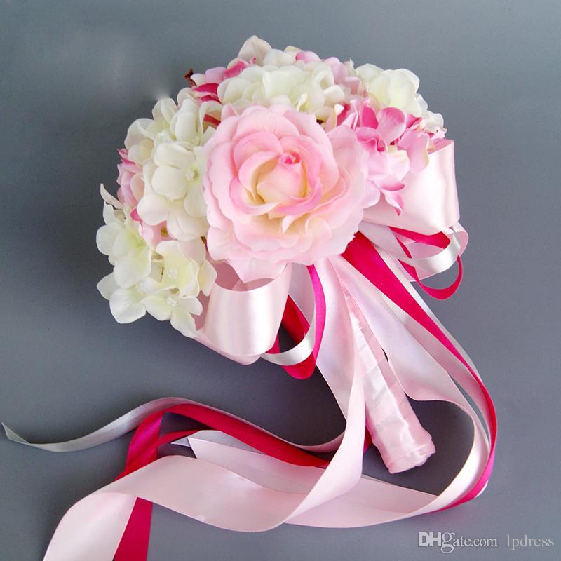 2017 Estilo Europeu Bouquets De Noiva Fontes Do Casamento Flores Do Casamento Rosa Branco Vermelho Acessórios Do Casamento Barato 2017