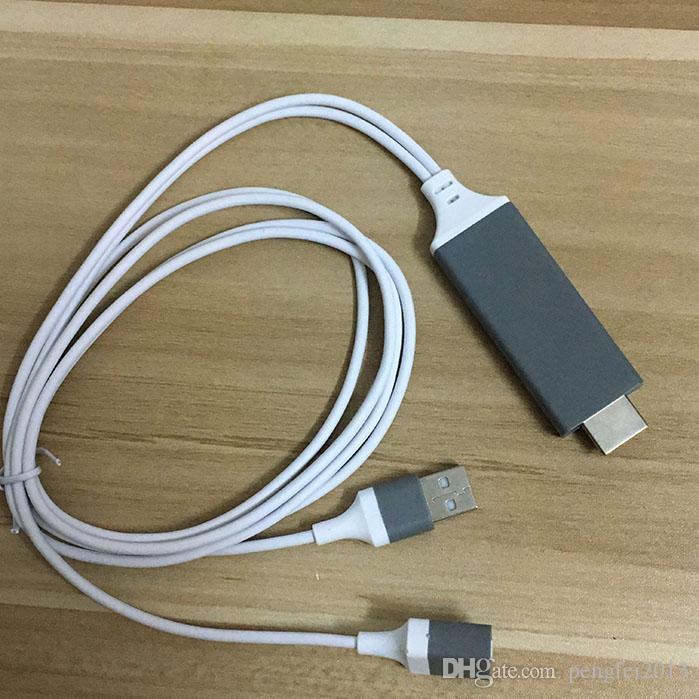 1m HDMI Dongle Cable Vídeo de la pantalla del teléfono a HDMI Para iPhone 5/6 / 6S / 6 Plus / 7 / 7plus iPad A HDMI Adaptador HDTV