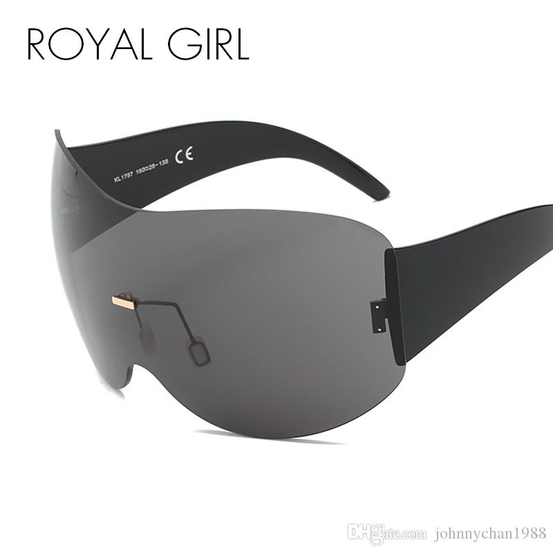 8f16c09417 ROYAL GIRL New Brand Design Oversized Rimless Sunglasses Women Men Large  Acetate Frame Windproof Shades Eyewear Ss660 Sunglasses Online with   18.78 Piece on ...