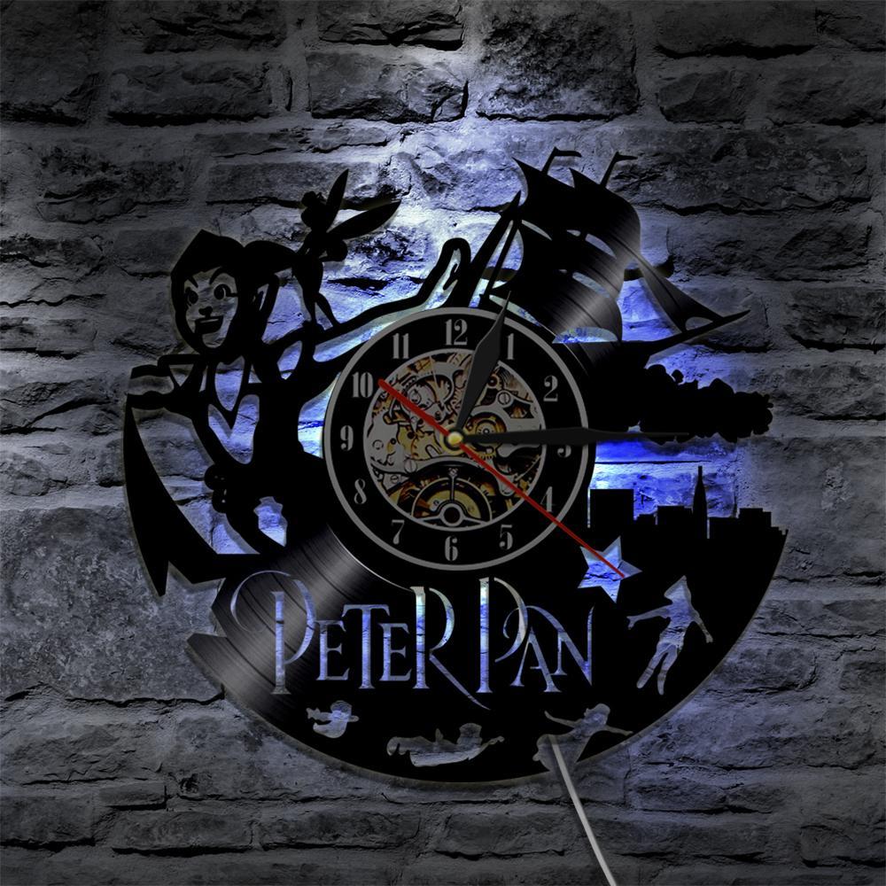 Großhandel Peter Pan Vinyl Uhr Wandleuchte Led Vintage Silhouette