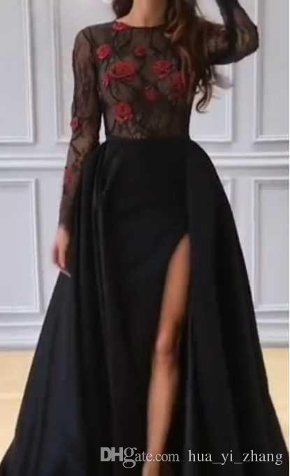 2017 Black Prom Dresses With Sheer Lace Top And Long Sleeves Red ...