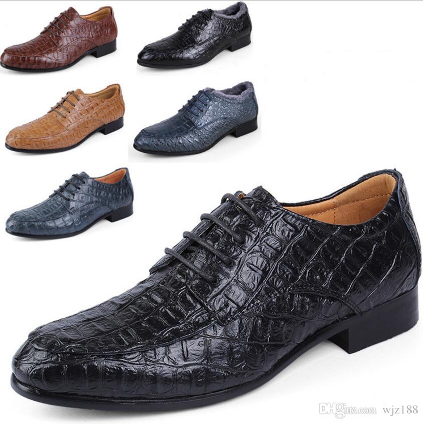 Pointed Crocodile Leather Shoes Mens Leather Dress Shoes Mens