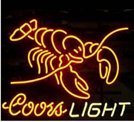 2018 coors light lobster neon sign custom handmade real glass coors light lobster neon sign custom handmade real glass restaurant hotel motel diner sea food advertising display neon signs 19x15 aloadofball Images