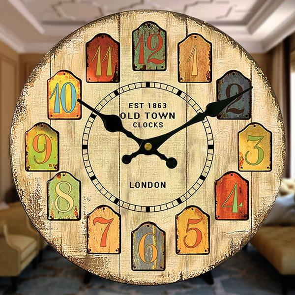 Quartz Digital Wall Clock Pastoral France Styles Wooden Retro ...