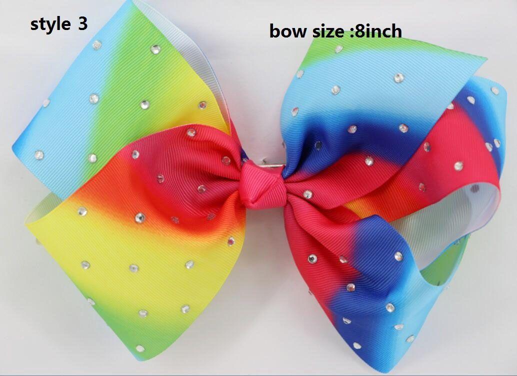 new arrival Jojo Siwa 8 Inch Handmade Rainbow Grosgrain Ribbons hair bow Metal Alligator Clip For Girls,Toddlers Teenager Women s/