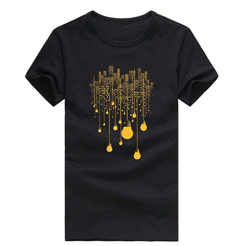 Nueva Bombilla Manga Estampado De Hombre Compre Para Camiseta qUd0xS55w