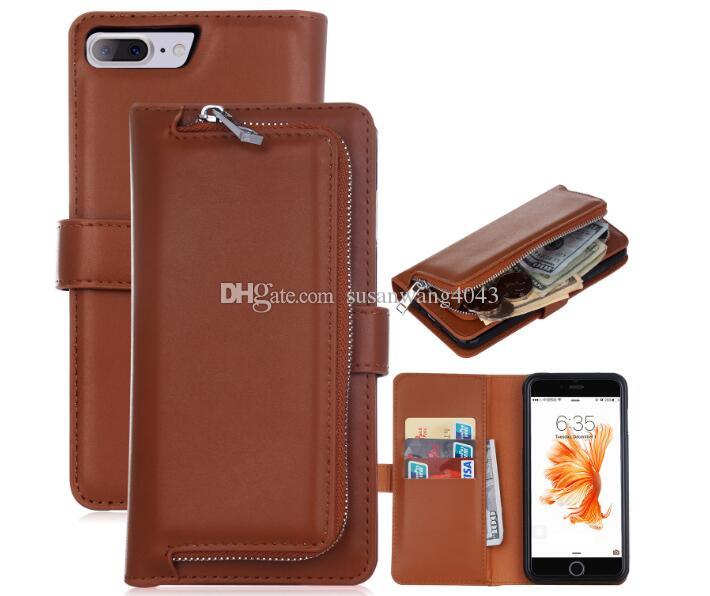 caja del teléfono billetera de lujo para iphone7 iphone 7 6 6s más galaxy s5 s7 funda de cuero bolso cremallera caso DHL libre GSZ288