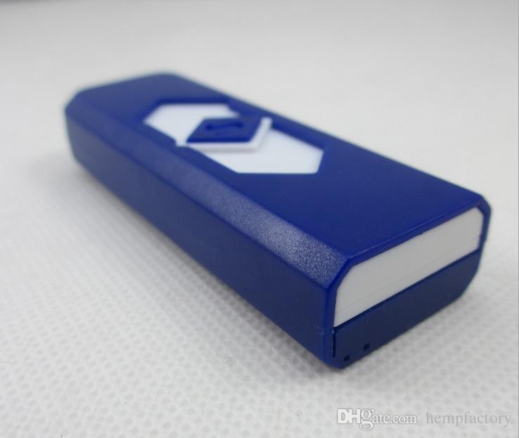 Encendedor electrónico Encendedor sin llama Encendedores a prueba de viento Encendedor USB Batería recargable Cigarrillo Encendedores de cigarros USB Estilo de todos los colores