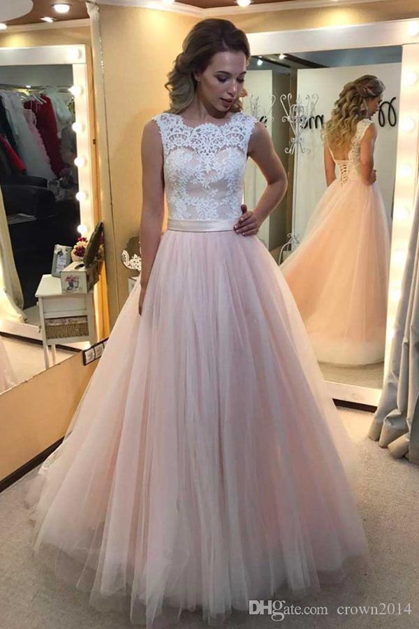 Spitze Rosa und weiße Brautkleider A-Line Lace-up Backless Sweep Train A-Line Tüll Vintage Garten Hochzeit Brautkleider 2021