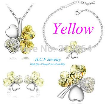 JingRong Brand Jewelry Fashion Austrian Crystal Jewelry Clover Sets Necklace Earrings Bracelet Brooch Set sweet clover Wholesale