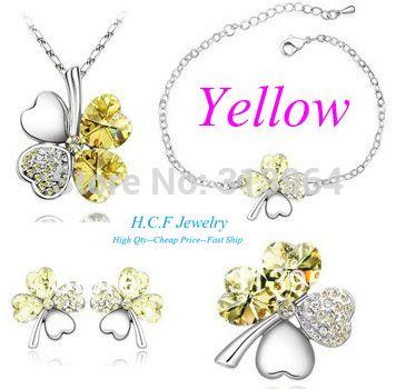 JingRong Marke Schmuck Mode österreichischen Kristall Schmuck Clover Sets Halskette Ohrringe Armband Brosche Set süße Klee Großhandel