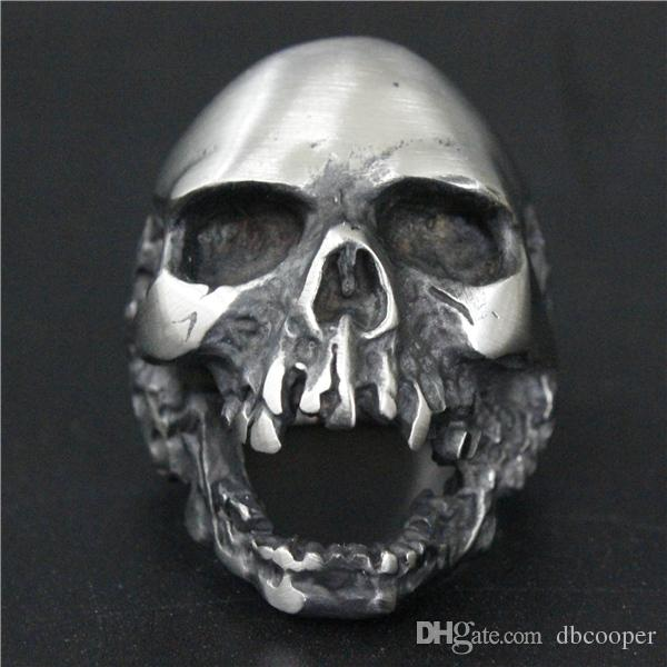 Size 7-15 Cool 316L stainless steel Jewelry Mens Cool Dull Polishing Zombie Death Skull Ring Punk Style Big Heavy Skull Biker Ring