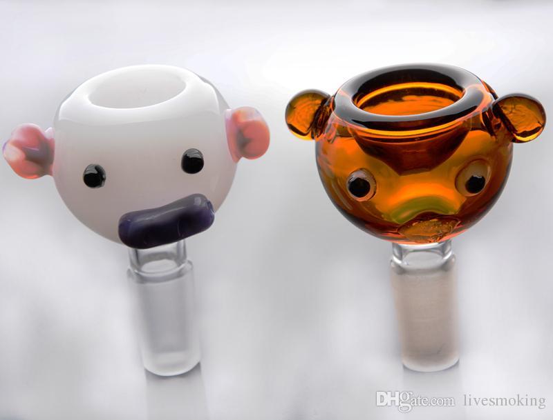 Jade blanc et ambre Couleur Pig image Conduites d'eau en verre Accessoires pour fumeurs Narguilé avec plate-forme pétrolière Joint mâle de 14 mm