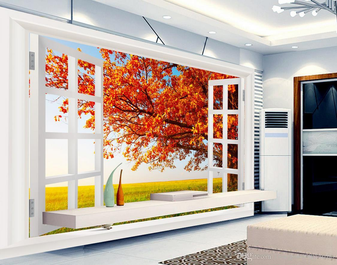 outside the window autumn landscape fashion hd 3d tv wall mural 3d see larger image