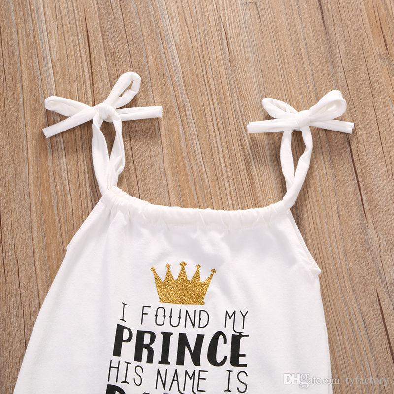 White Brace Jumpsuit Kid I Found My Prince His Name is Daddy Baby Girl Romper High Quality Sunsuit Cotton Fashion Clothing Factory 0-24M