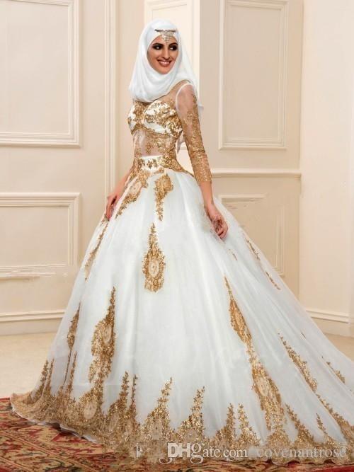 Müslüman Gelinlik 2017 altın aplike 3/4 Uzun Kollu Seksi Sheer Hint Stilleri Arapça Gelin Törenlerinde Gerçek Resim