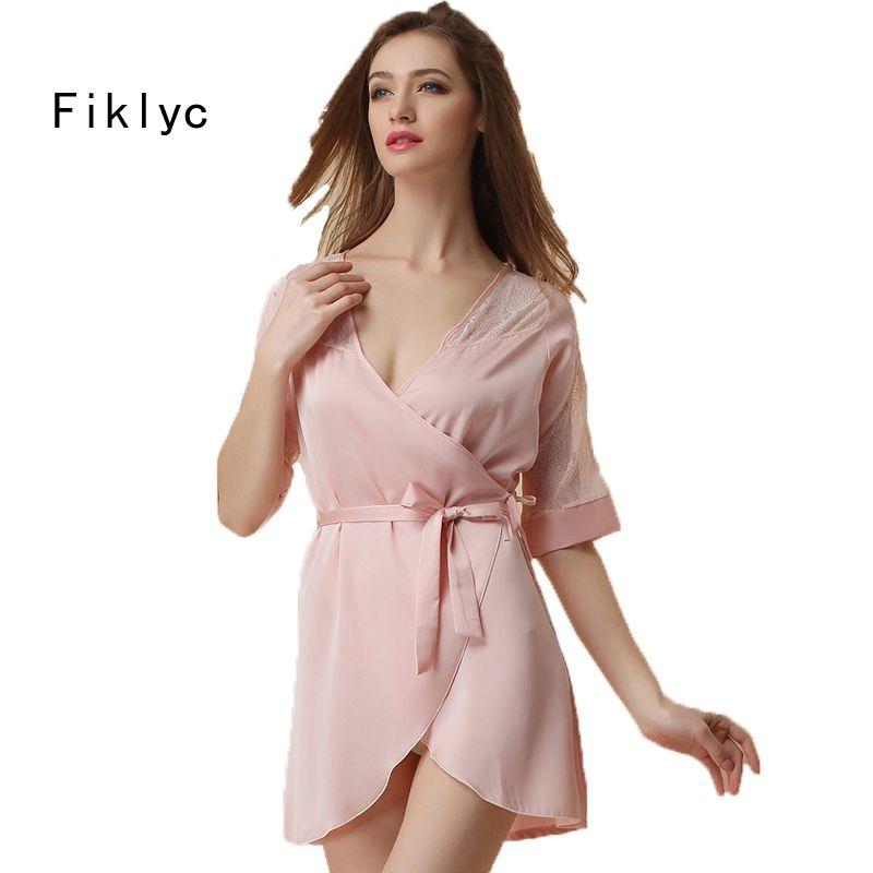 Wholesale- Women s Short Sleeve Sexy Robes Fashion Luxury Satin Silk ... 10b6d9ea6
