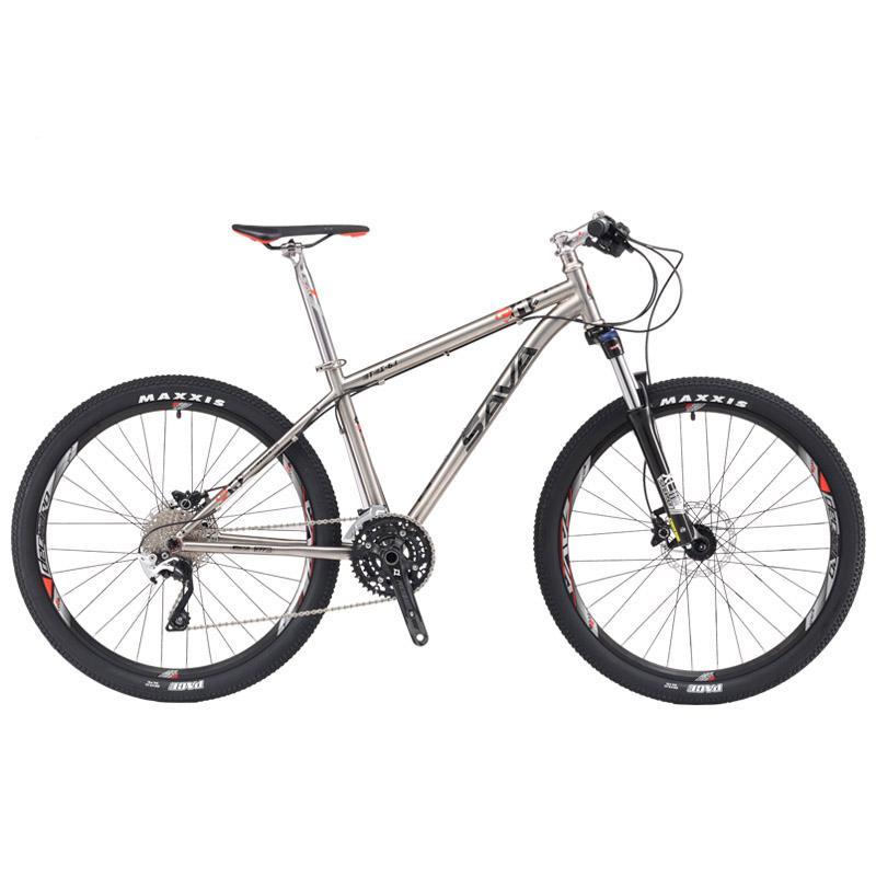 7e55ef22a SAVA 27.5 polegada 26 polegada MTB Mountain Bike Quadro De Titânio Dupla  Freio A Disco de Suspensão Hidráulica Garfo com M610 30 Speed bicicleta  Titanium