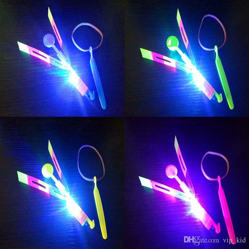 Beautiful Neon Led Light Amazing Elastic Powered LED Arrow Helicopter Shining Rocket Flash Copter Arrow Helicopter