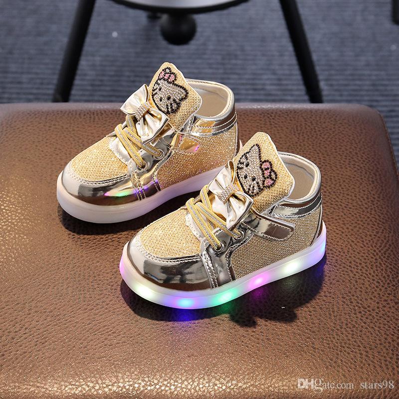 b9611b973eac6 Acheter Enfants Filles Chaussures 2017 Printemps Automne Hiver Sneakers  Garçon Chaussures Chaussure Enfant Hello Kitty Bébé Chaussures Avec LED  Lumière De ...