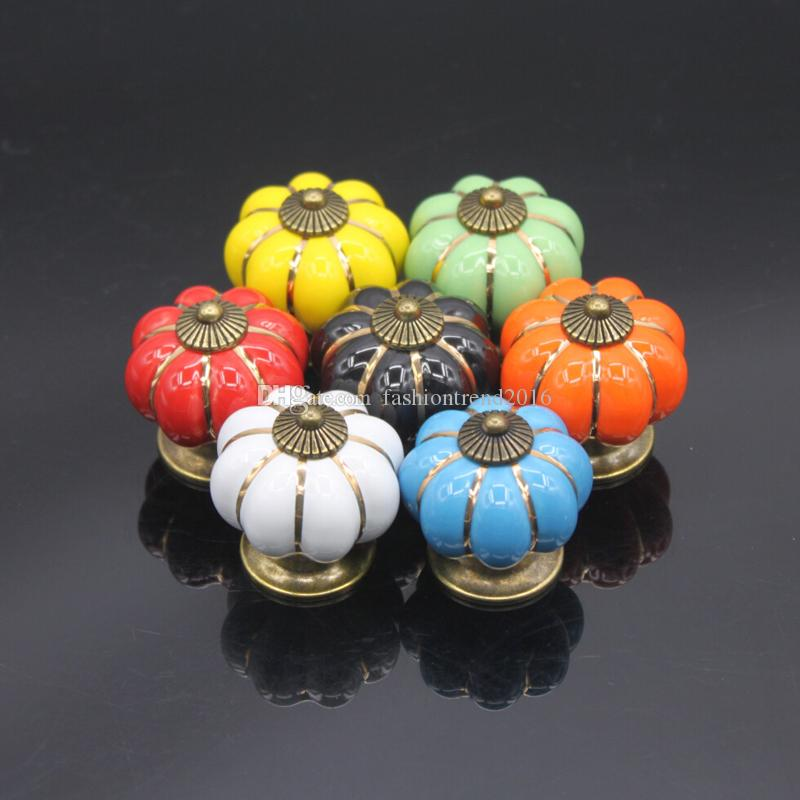 2018 Vintage Furniture Handle Pumpkin Ceramic Door Knobs Cabinet ...