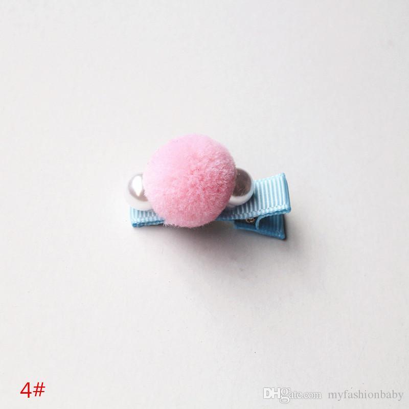/ Delicated ragazze lana capelli della perla della clip superiore tornante Kid Barrette morbida Korear prese dei capelli Cute Pink Peach Copricapo