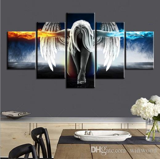 Oil Painting Angel Demons Wing Printed Canvas Anime Room Printing Poster Wall Art Print Decoration Decorative Picture Decor