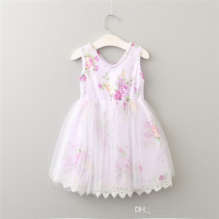 Kids Girls Lace Dresses Baby Girl Floral Print Vest Dress Boutique 2017 Infant Princess Pearl Tulle Dress for Party Children Clothing B109