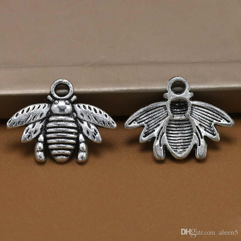 Hot ! Antique silver / Bronze Zinc Alloy Lovely Bee Charm Pendant 16x21mm