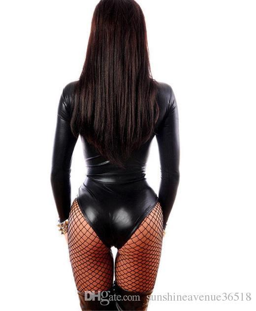 das mulheres macacão preto de couro sexy vestidos de manga comprida Bodysuits Erotic Body de Ginástica Latex Costume Catsuit dongguan_wholesale em estoque