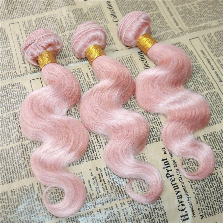 Розовый волос с кружевом Фронтальных Бразильского Human Virgin Hair Связка 3шт с кружевом Фронтальной Rose Pink Body Wave Пучки волос