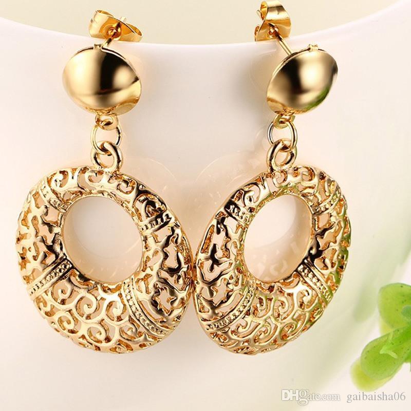 Уникальный полый дизайн кулон ожерелья набор золота цвет модный круглый кулон ожерелье серьги женские украшения