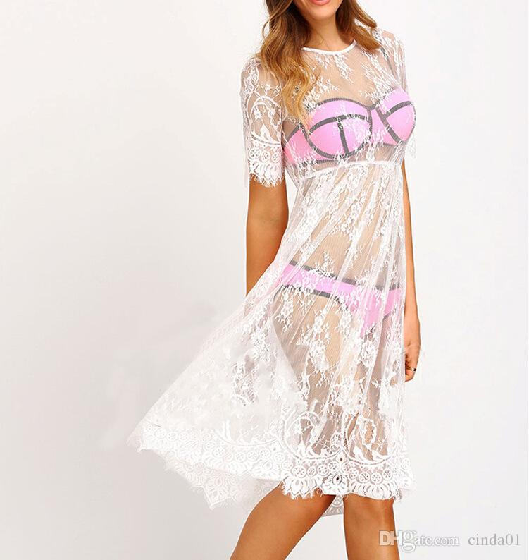 2017 Yeni Kadın Plaj Dantel Elbiseler Uzun Maxi Boho Kadın Plaj Tatil Giyim Için Casual Elbise Through Ücretsiz Kargo