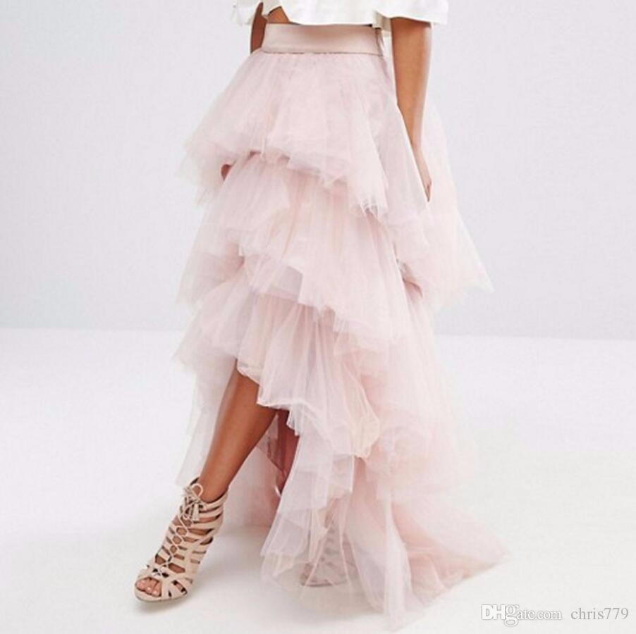 f00c38097 Moda elegante con gradas de 3 capas Alto Bajo Mujer Ropa formal de fiesta  Faldas largas de tul Volantes Falda de tutú por encargo