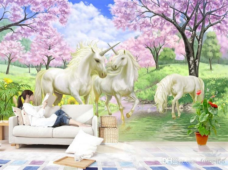 Benutzerdefinierte 3D Wandbild Tapete Einhorn Traum Kirschblüte TV Hintergrund Wandbilder Für Kinderzimmer Schlafzimmer Wohnzimmer Tapete