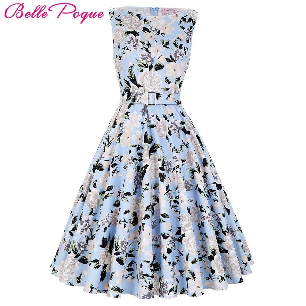 46b2e0fc56b8a Wholesale- 2017 Summer Women Dress Audrey Hepburn Vestidos Sleeveless Polka  Dot Floral Print Clothing Cotton 50s Casual Rockbilly Dresses