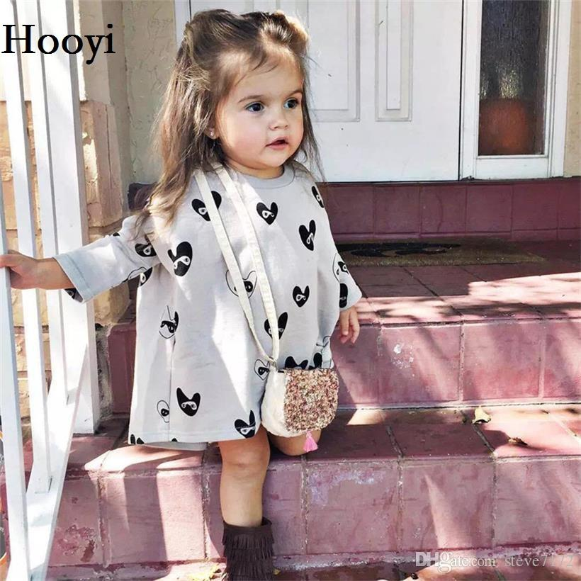 Grey Heart Print Baby Girl Dresses Fashion New Girls Pettiskirts Jumpers Children Clothes for girl Tops Blouse 80 90 100 110 120