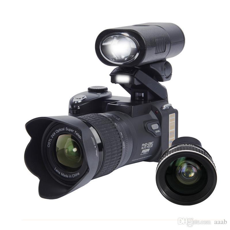 2017 PROTAX D7300 digital cameras 33MP Professional DSLR cameras 24X Optical Zoom Telephotos& 8X Wide Angle Lens LED Spotlight Tripod