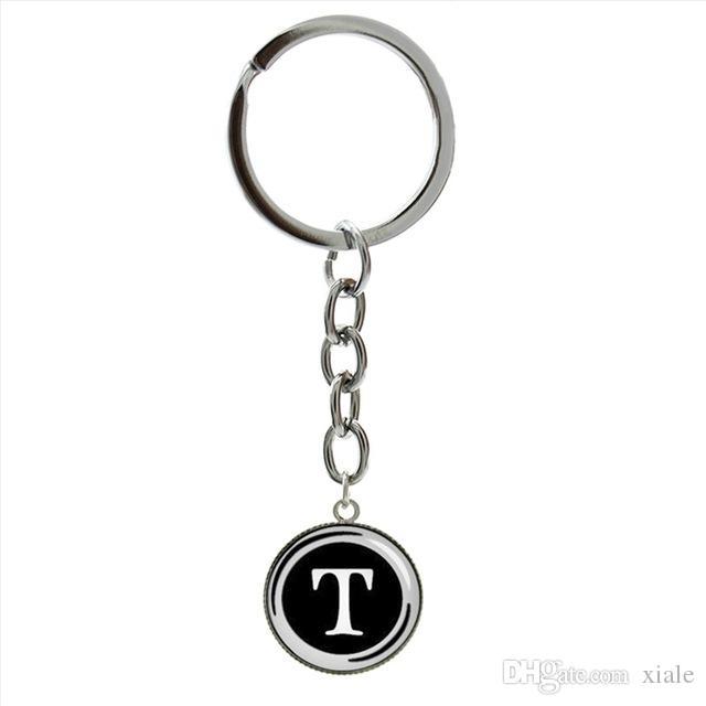 Initial lettre R porte-clés personnalisé résine verre cabochon dôme  monogramme lettre bijoux rétro anniversaire fait main chaînes porte-clés ...