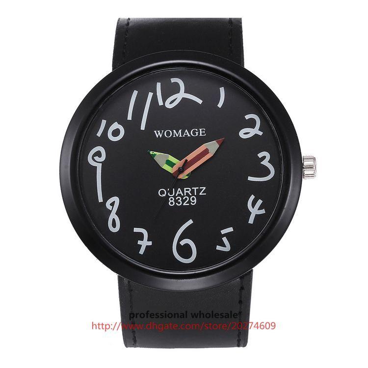 Wholesale Cute Cartoon Watch Pencil Pointer Leather Strap Alloy Wristwatch For Men Women Kids