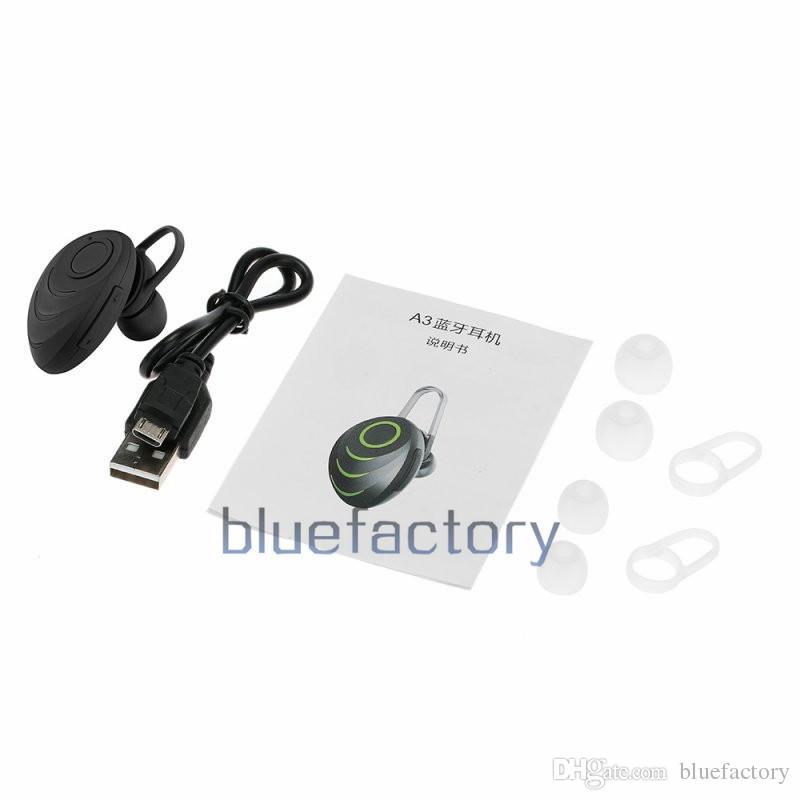 Mini a3 fone de ouvido estéreo sem fio fone de ouvido bluetooth no ouvido esporte hand-free com mic fone de ouvido invisível para o iphone samsung smartphone
