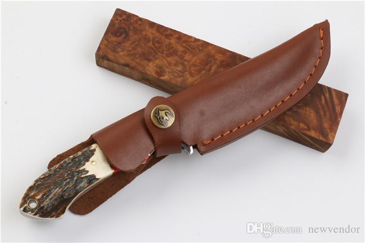 New Damaskus Bowie Blatt-Jagd-Messer-Geweih-Handgriff im Freien kampierende wandernden Überleben Gerade Messer edc Taschenmesser