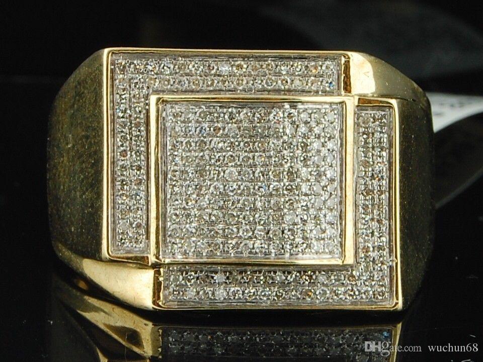 2019 Mens 10K Yellow Gold Diamond Pinky Ring 1/2 Ct