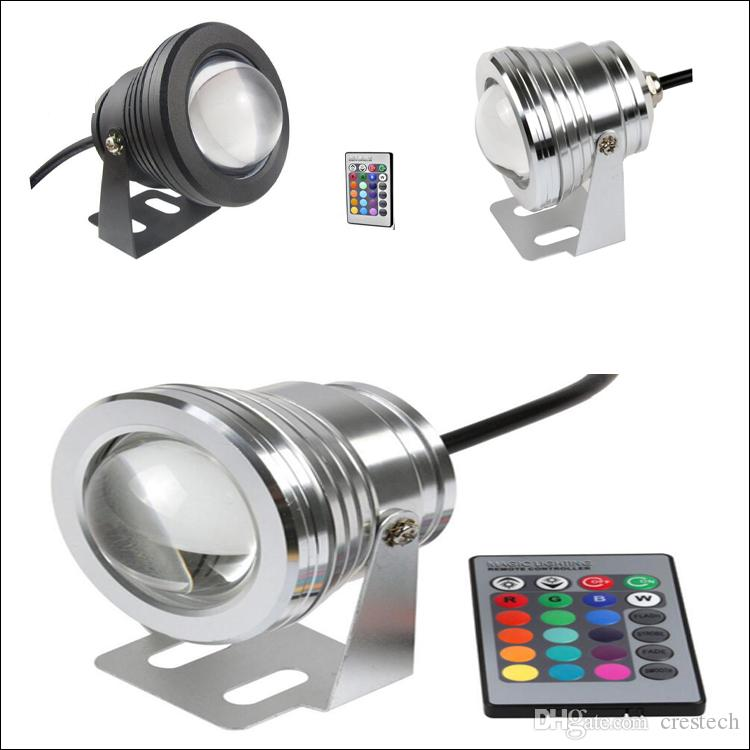 LED lumière sous-marine 10W RVB spot DC AC 12V 24 clé télécommande infrarouge waterr preuve IP68