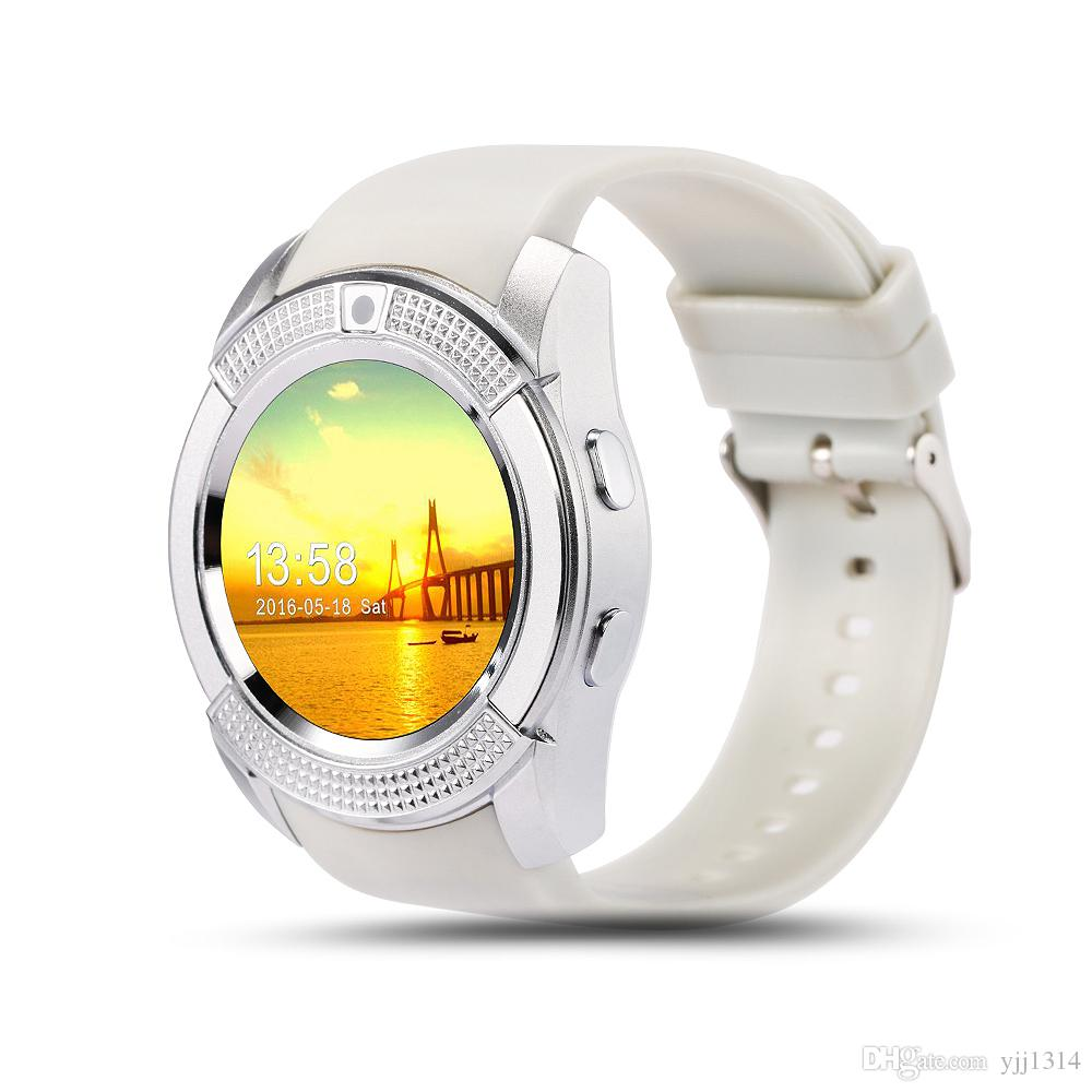 Buona batteria V8 Smart Watch Prezzi all'ingrosso Orologi Bluetooth Android con Smartwatch fotocamera 0.3M telefono Android