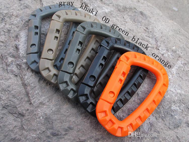 D Shape 200LBS Mountaineering Buckle Snap Clip Plastic Steel Climbing Carabiner Hanging Keychain Hook Fit
