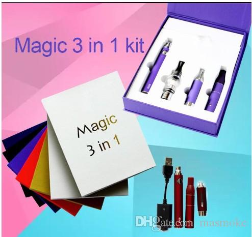 HOT magic 3 in 1 Kit wax dry herb e-liquid atomizers ecigs kit MT3 AGO G5 glass globe 3in1 evod battery vape Free DHL