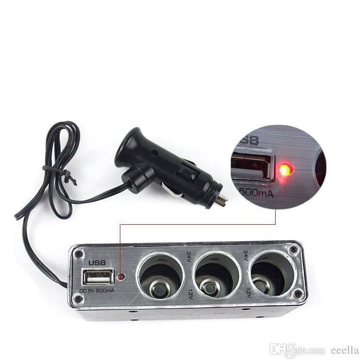 3in1 USB Port De Voiture Allume-cigare Socket Auto Power Cigar Adaptateur Splitter Pour Téléphone MP3 Chargeur pour iPhone Huawei MobilePhone