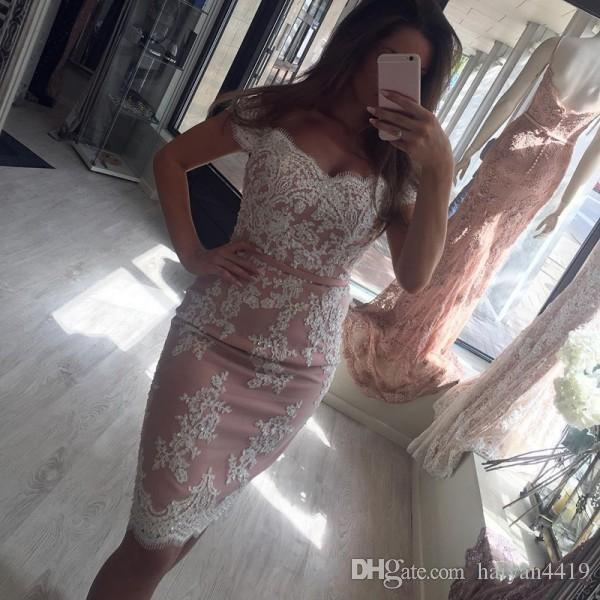 2019 New Short Mini Homecoming Dresses Dusky Pink Off Shoulder Cap Sleeves Knee Length Sheath White Lace Beads Party Dresses Cocktail Gowns